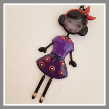 Sautoir Lolilota LOL BIJOUX Paprika violet pois rose bandeau rouge