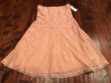 Yoana Baraschi Peach Pink Lace Strapless Dress Size 6, NWT