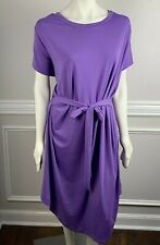 27fccc6245d Ashley Stewart Tee Shirt Dress Purple Stretch Solid Purple Comfy Tie Back  26 28