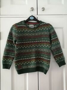 TU boys' warm cosy Fairisle Green Jumper age 8 years preloved good condition