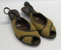 Womens DONALD J PLINER Leather Peep Toe Sling Back Flats Shoes Size 8 N Narrow