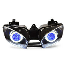 KT LED Angel Eyes Headlight Assembly For Yamaha YZF R6 1999 00 01 2002 Blue Kit