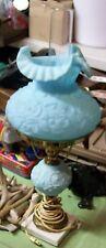 VINTAGE BLUE SATIN GLASS POPPY TABLE LAMP FENTON ART GLASS CO MARBLE BASE GWTW