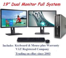 "Windows 10 Cheap Fast HP Core Full System 19"" Dual Monitor Desktop Computer PC"