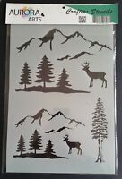 Stencil by Aurora Arts A4 Mountain and forest 190mic Mylar craft stencil 075