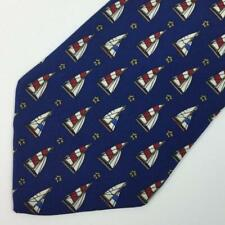 Tommy Hilfiger Sailboat Sailing Nautical Anchor Silk Tie Red/Blue