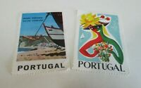 Two Large Stamp Style Stickers - Portugal - Sunny Beach Sailing Tourism Theme