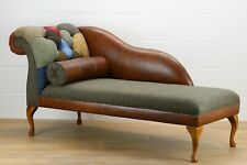LHF Patchwork Harris Tweed chaise longue genuine leather