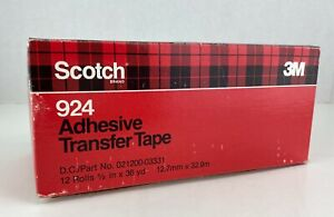 """9 Rolls Pack / Lot of Scotch 924 Adhesive Transfer 1/2"""" Tape - OEM 021200-03331"""
