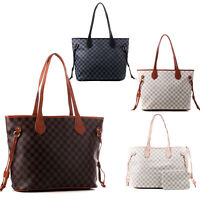 Women's Large Checked Designer Tote Bag Leather Style Quality Shoulder Handbag