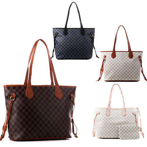 Womens Large Checked Designer Tote Bag Leather Style Quality Shoulder Handbag