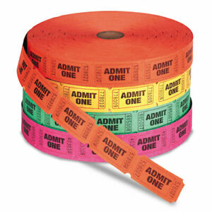 Iconex Admit One Single Ticket Roll, Numbered, Assorted, 2000/Roll, 4 Rolls/Pack