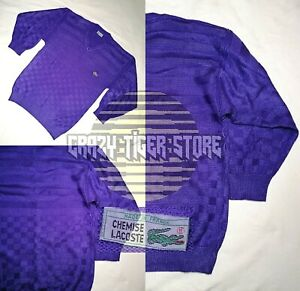 Chemise Lacoste Mens Vintage 80s Knit Sweater Pullover Chessboard Knit Pattern L