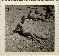 PHOTO ANCIENNE - VINTAGE SNAPSHOT - HOMME TORSE NU MAILLOT BAIN PLAGE SLIP - MAN