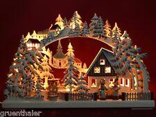 3D-Schwibbogen LED schattiert farbig Laternenschein Pyramide 43x30cm Erzgebirge