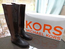 Michael Kors Val Dk Brown Distressed Leather/Suede Riding Boots Sz6.5 Ret. $395