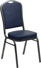 Crown Back Stacking Banquet Chair in Navy Vinyl with Silver Vein Frame