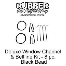 1967 1968 1969 1970 Ford Truck Deluxe Window Run Channel & Beltline Kit BLACK