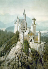 Framed Print – Schloss Neuschwanstein Picture by Adolf Hitler c.1914 (Replica)