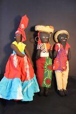 Lot of  Fabric Caribian Island AA Dolls - 2 female/ 1 male (St Lucia)