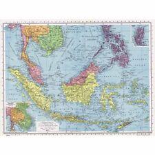 EAST INDIES Sumatra, Bornéo, Bornéo, Philippines, Java-Vintage Map 1945