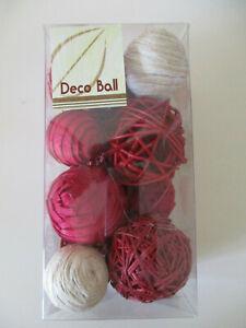 DECO BALL RED & CREAM SHADES WOODEN NATURAL BALLS DECORATION SET