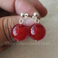 schönes Paar 14mm rote Jade baumeln 925 Silber Ohrstecker baumeln