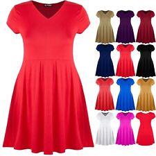 Plus Size Ladies Womens V Neck Franki Shift Dress Flared Cap Sleeve Skater Dress