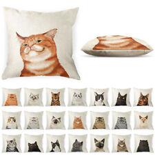 Cat Polyester Linen Pillow Case Sofa Waist Throw Cushion Cover w/ Zipper Closure