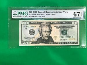 $20 ALMOST SOLID SERIAL # 22222225 FEDERAL RESERVE 2089-B PCGS 67 PPQ UNC 2004