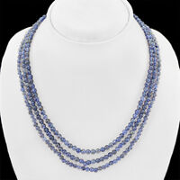 BEAUTIFUL 698.00 CTS NATURAL RICH BLUE LAPIS LAZULI UNTREATED BEADS NECKLACE