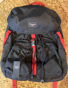 NWT Abercrombie & Fitch Navy Blue / Red Backpack Laptop Compartment $68