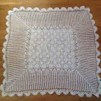 VINTAGE HAND CROCHET WHITE SCALLOP EDGED TABLECLOTH 40X40 INCHES