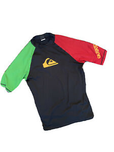 Quicksilver Black Rasta Rash Guard Short Sleeve Surf Shirt SPF 50 Men's Size XL