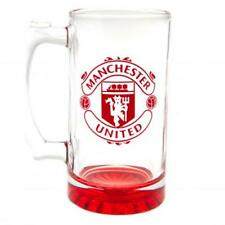 MANCHESTER UNITED F.C COLOUR CREST STEIN GLASS TANKARD - OFFICIAL FOOTBALL GIFT