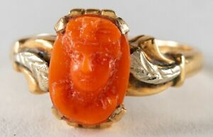 Victorian Antique 14k Yellow Gold SALMON CORAL Cameo Ring