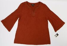 Style & Co Womens 3/4 Sleeve V Neck Embellished Grommet Trim Top  Auburn M DS112