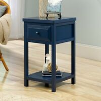 Traditional 1-Drawer End Table Nightstand Wooden Bed Side Display Storage Blue