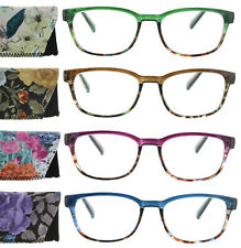 Womens Reading Glasses Square Frame Two Tone Spring Hinge Readers with Case