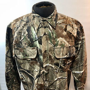 Men's M Cabela's Realtree Long Sleeve Button Up Camo Hunting Shirt Soft & Warm