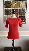 Lauren by Ralph Lauren orange Womens Size PM Boat-Neck Knit Top