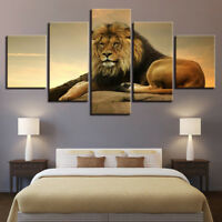 Lion The King Of Beasts Jungle Wild Forest Empire 5 Panel Canvas Print Wall Art