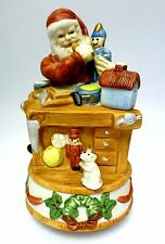 "HOLIDAY - REVOLVING SANTA CLAUS FIGURINE, ""JINGLE BELLS"" MUSIC BOX - PRISTINE"