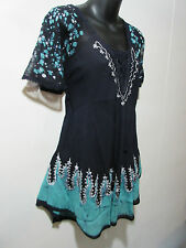 Top Fits L XL 1X Tunic Navy Blue Teal Green Lace Sleeves Bell Shaped NWT G786R