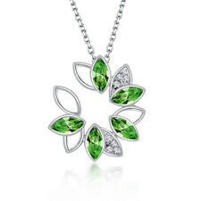 Elegant clear Crystal flower green Pendant & Chain Necklace Women Jewelry gift