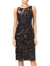 New Adrianna Papell Black Sequin Embroidered Sheath Dress Sz UK 14 rrp £175