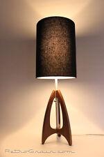 Retro Grain Table Lamp - Danish Modern - Atomic - Mid-Century - Walnut / Black