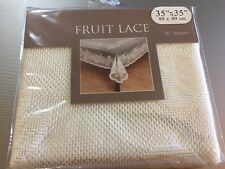 """Lace FRUIT Off- White Ivory Tablecloth 35"""" Square Topper Overlay NEW"""