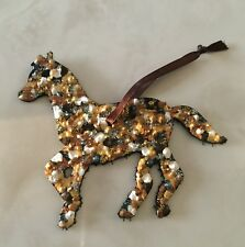 """Race Horse Painted Leather Christmas Holiday Ornament w/ Ribbon (2 1/2 X 3"""")"""