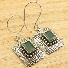 """1 1/2"""", Silver Plated Jewelry Cut Green Onyx Stamping Earrings"""